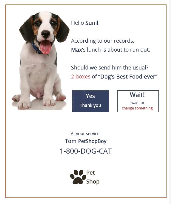 Pet shop repurchase reminder example