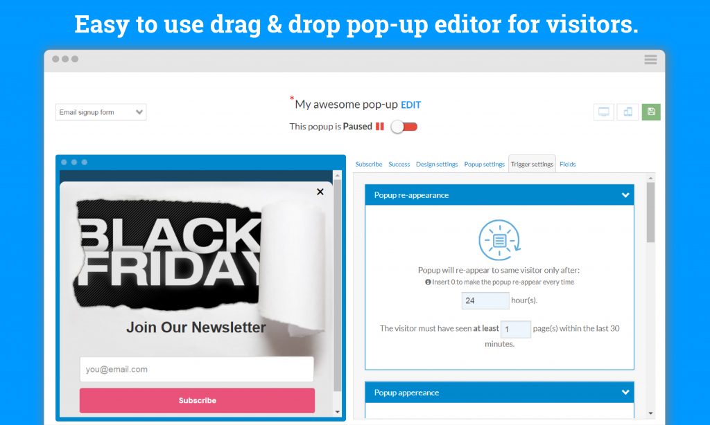Pop Up editor for Shopify