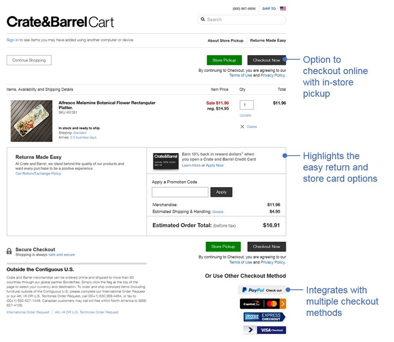 Best Checkout Pages example 3: Crate and Barrel