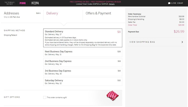 Best Checkout Pages Example from Victoria's Secrets