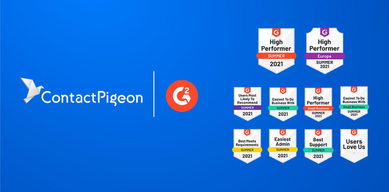 ContactPigeon-wins-nine-G2-awards